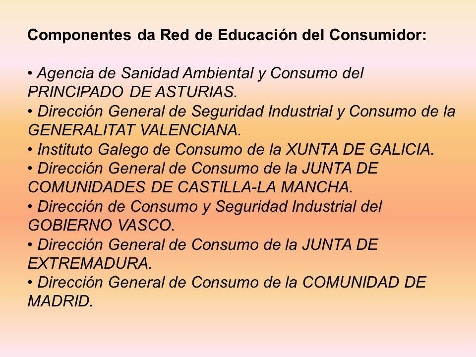 Componentes da Red de Educación del Consumidor: Agencia de Sanidad Ambiental y Consumo del PRINCIPADO DE ASTURIAS.