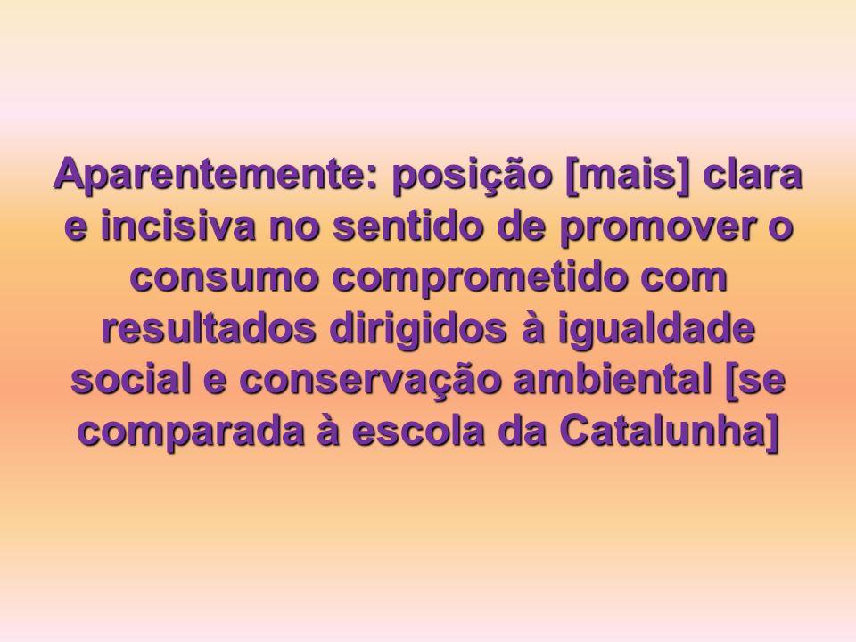 Aparentemente: posição [mais] clara e incisiva no sentido de promover o consumo comprometido com resultados dirigidos à igualdade social e conservação ambiental [se comparada à escola da Catalunha]