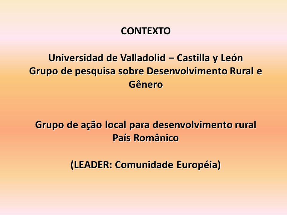 CONTEXTO Universidad de Valladolid – Castilla y León Grupo de pesquisa sobre Desenvolvimento Rural e Gênero Grupo de ação local para desenvolvimento rural País Românico (LEADER: Comunidade Européia)