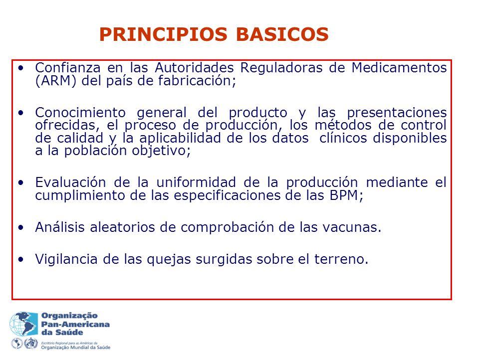 Confianza en las Autoridades Reguladoras de Medicamentos (ARM) del país de fabricación; Conocimiento general del producto y las presentaciones ofrecidas, el proceso de producción, los métodos de control de calidad y la aplicabilidad de los datos clínicos disponibles a la población objetivo; Evaluación de la uniformidad de la producción mediante el cumplimiento de las especificaciones de las BPM; Análisis aleatorios de comprobación de las vacunas.