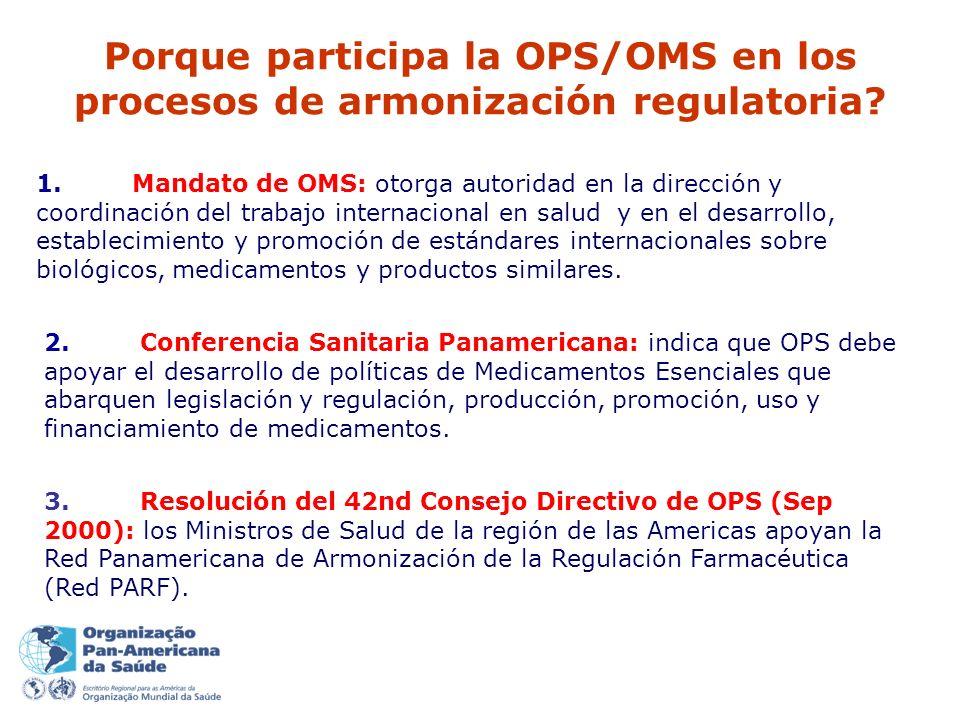 Porque participa la OPS/OMS en los procesos de armonización regulatoria.