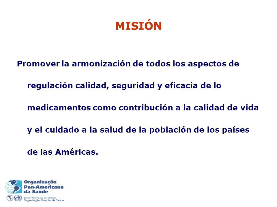 MISIÓN Promover la armonización de todos los aspectos de regulación calidad, seguridad y eficacia de lo medicamentos como contribución a la calidad de vida y el cuidado a la salud de la población de los países de las Américas.