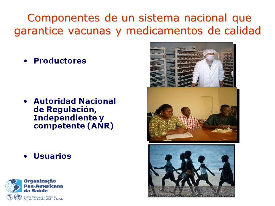 Componentes de un sistema nacional que garantice vacunas y medicamentos de calidad Componentes de un sistema nacional que garantice vacunas y medicamentos de calidad Productores Autoridad Nacional de Regulación, Independiente y competente (ANR) Usuarios