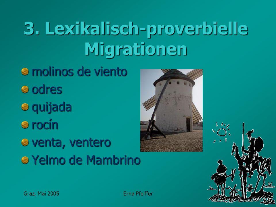 Graz, Mai 2005Erna Pfeiffer 3. Lexikalisch-proverbielle Migrationen molinos de viento odresquijadarocín venta, ventero Yelmo de Mambrino