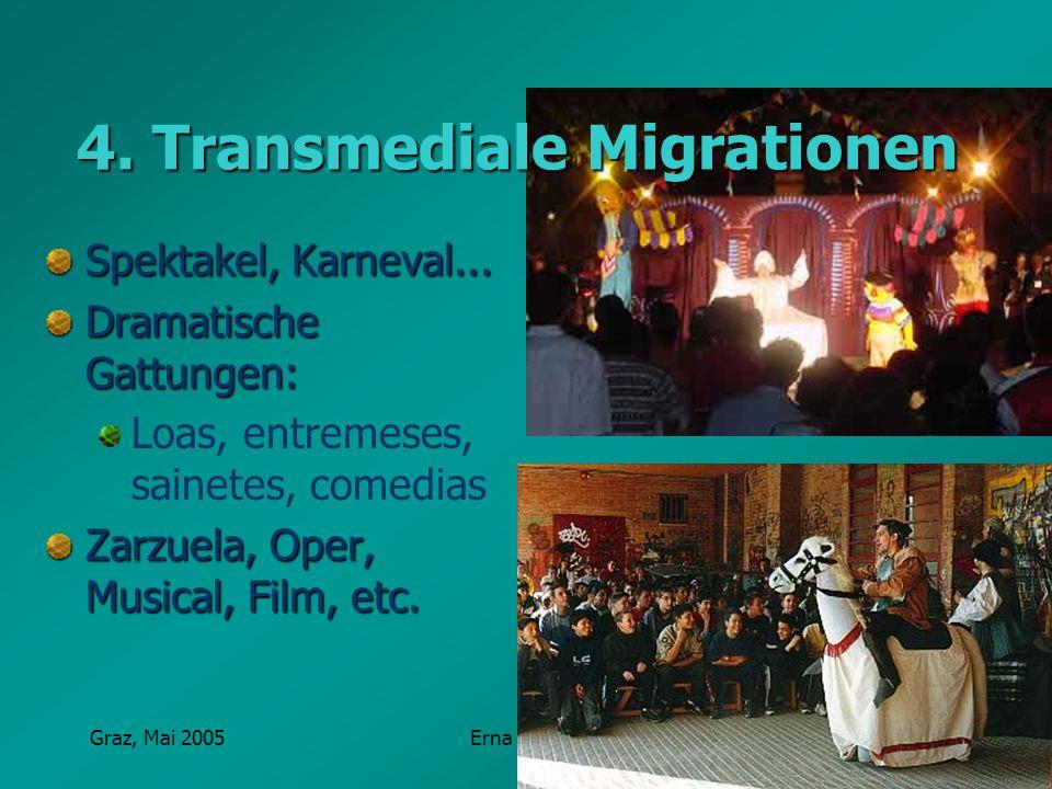 Graz, Mai 2005Erna Pfeiffer 4. Transmediale Migrationen Spektakel, Karneval... Dramatische Gattungen: Loas, entremeses, sainetes, comedias Zarzuela, O