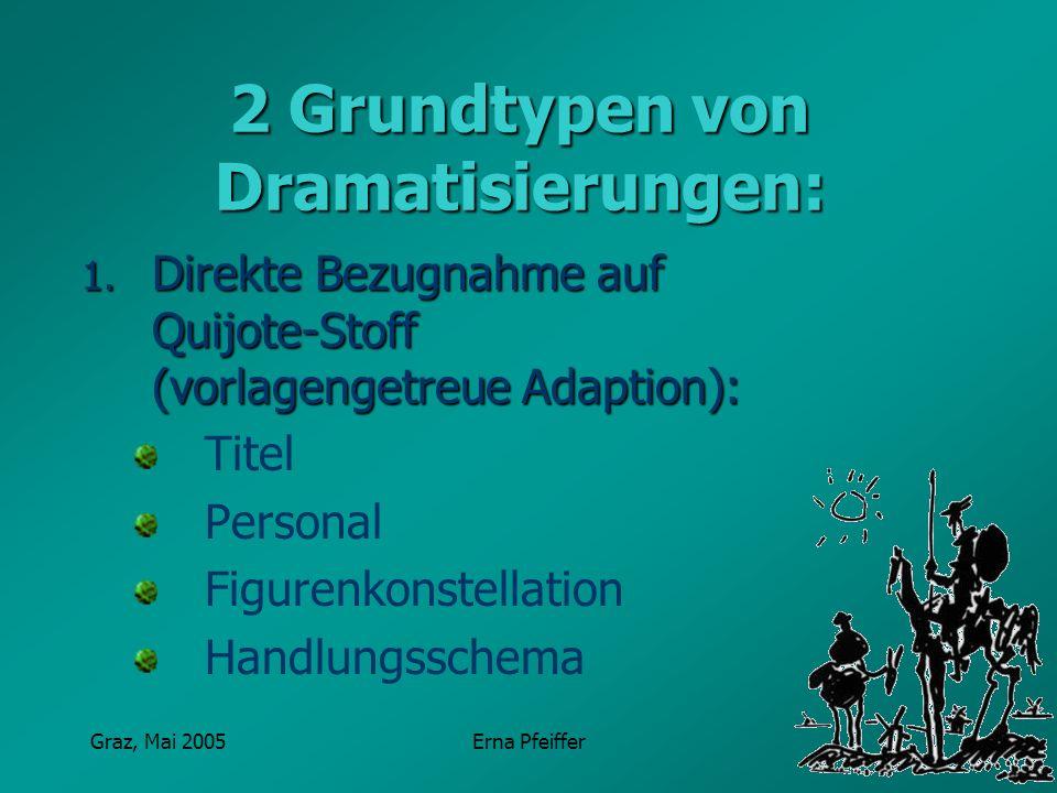 Graz, Mai 2005Erna Pfeiffer 2 Grundtypen von Dramatisierungen: 1.