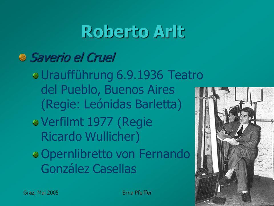 Graz, Mai 2005Erna Pfeiffer Roberto Arlt Saverio el Cruel Uraufführung 6.9.1936 Teatro del Pueblo, Buenos Aires (Regie: Leónidas Barletta) Verfilmt 19