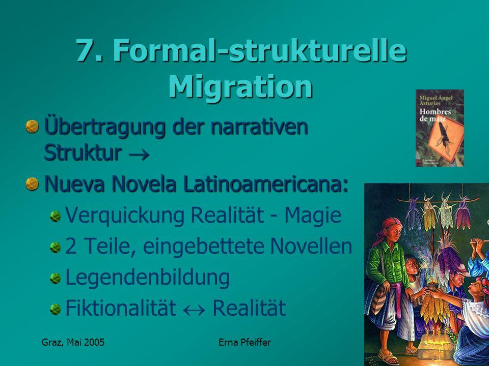 Graz, Mai 2005Erna Pfeiffer 7. Formal-strukturelle Migration Übertragung der narrativen Struktur Übertragung der narrativen Struktur Nueva Novela Lati