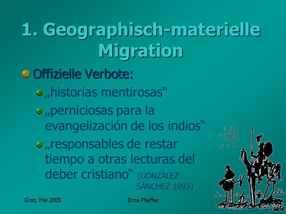 Graz, Mai 2005Erna Pfeiffer 1. Geographisch-materielle Migration Offizielle Verbote: historias mentirosas perniciosas para la evangelización de los in
