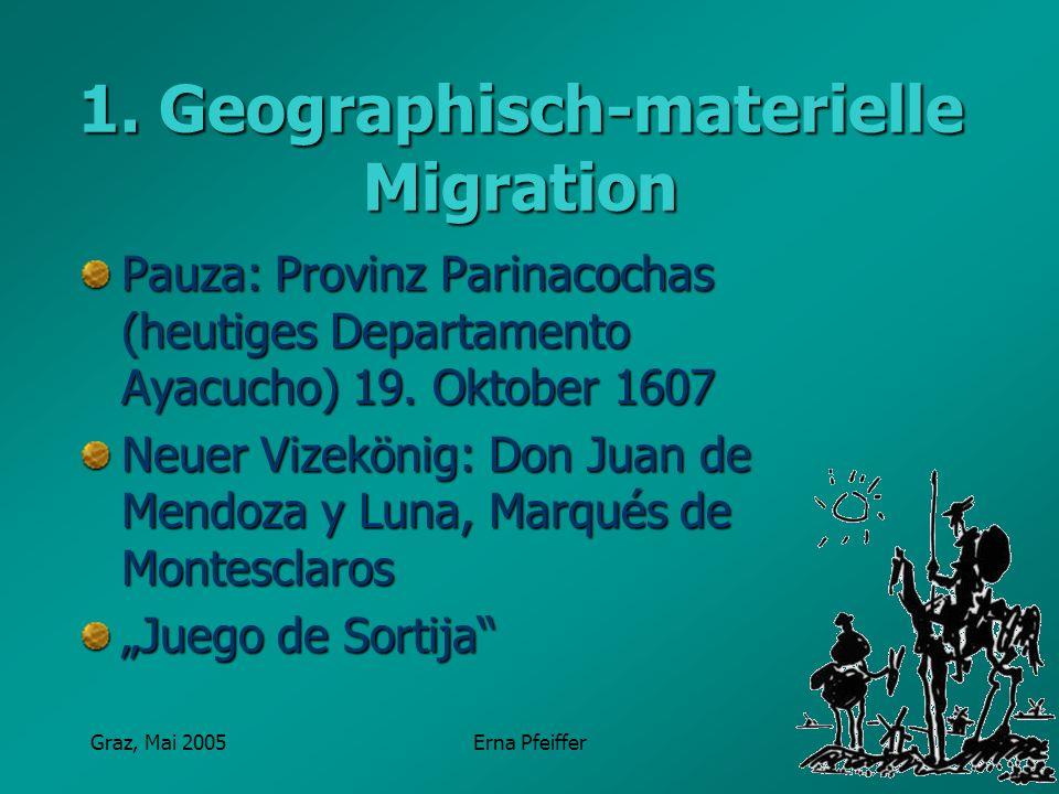 Graz, Mai 2005Erna Pfeiffer 1. Geographisch-materielle Migration Pauza: Provinz Parinacochas (heutiges Departamento Ayacucho) 19. Oktober 1607 Neuer V