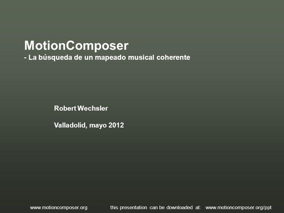 Robert Wechsler Valladolid, mayo 2012 MotionComposer - La búsqueda de un mapeado musical coherente www.motioncomposer.org this presentation can be dow
