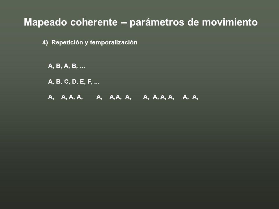 4) Repetición y temporalización A, B, A, B,... A, B, C, D, E, F,... A, A, A, A, A, A,A, A, A, A, A, A, A, A, Mapeado coherente – parámetros de movimie