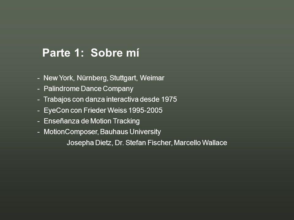 - New York, Nürnberg, Stuttgart, Weimar - Palindrome Dance Company - Trabajos con danza interactiva desde 1975 - EyeCon con Frieder Weiss 1995-2005 -