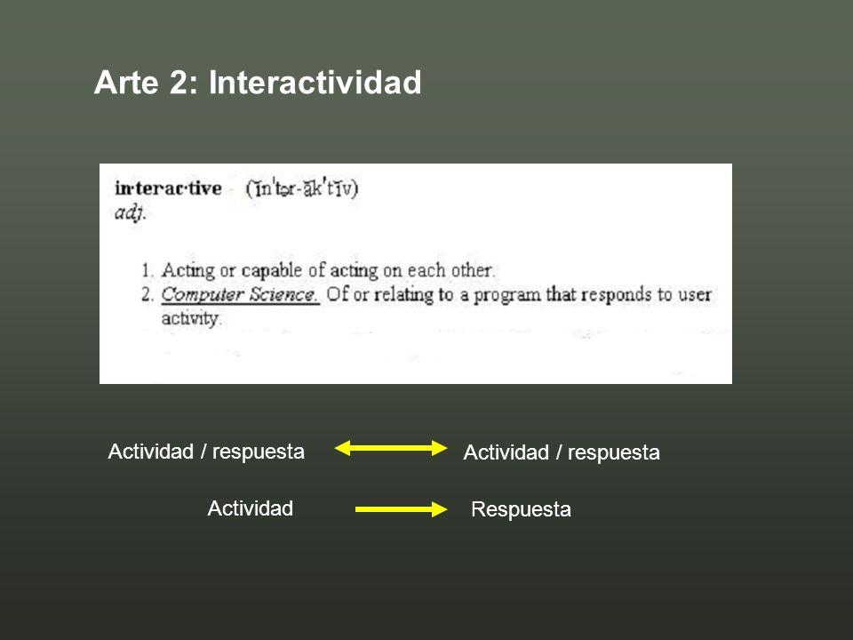 Arte 2: Interactividad Actividad Respuesta Actividad / respuesta