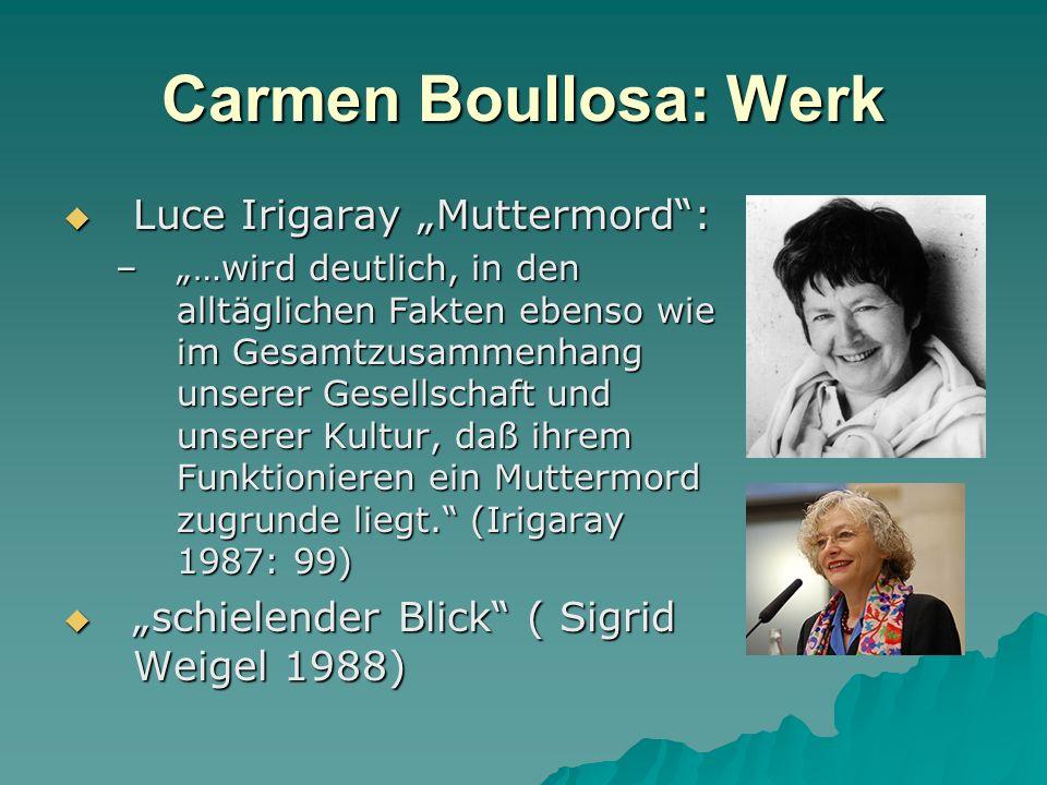 Carmen Boullosa: Werk Luce Irigaray Muttermord: Luce Irigaray Muttermord: –…wird deutlich, in den alltäglichen Fakten ebenso wie im Gesamtzusammenhang unserer Gesellschaft und unserer Kultur, daß ihrem Funktionieren ein Muttermord zugrunde liegt.