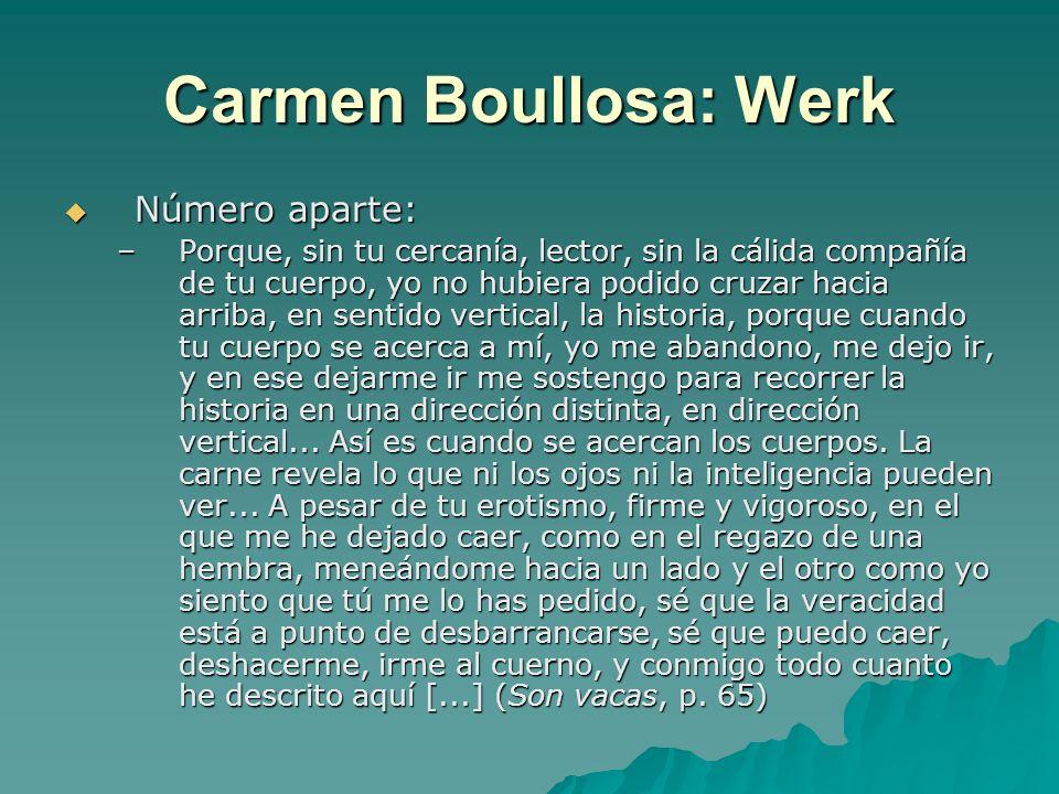 Carmen Boullosa: Werk Número aparte: Número aparte: –Porque, sin tu cercanía, lector, sin la cálida compañía de tu cuerpo, yo no hubiera podido cruzar hacia arriba, en sentido vertical, la historia, porque cuando tu cuerpo se acerca a mí, yo me abandono, me dejo ir, y en ese dejarme ir me sostengo para recorrer la historia en una dirección distinta, en dirección vertical...