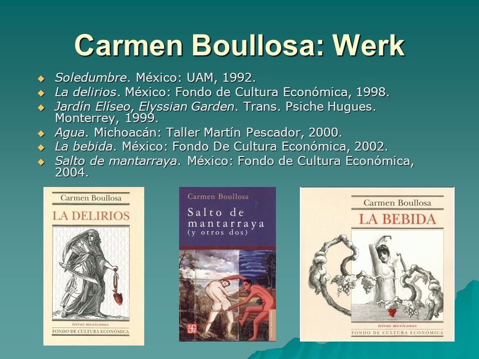 Carmen Boullosa: Werk Soledumbre.México: UAM, 1992.