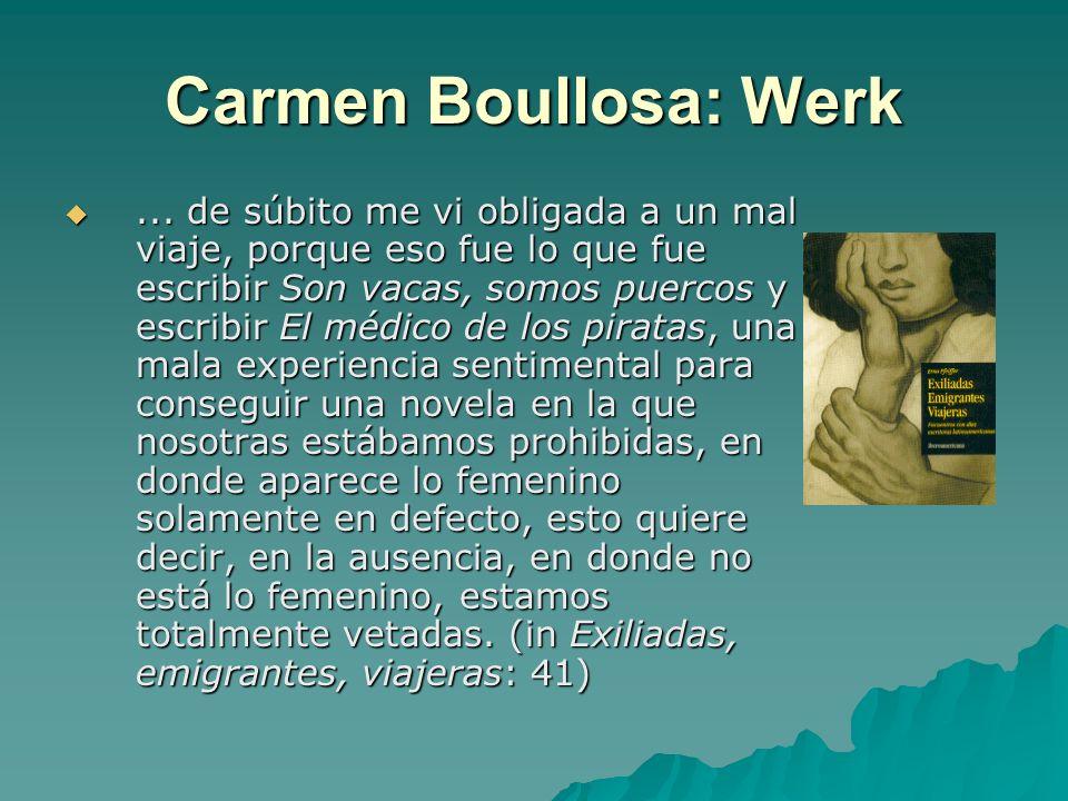 Carmen Boullosa: Werk... de súbito me vi obligada a un mal viaje, porque eso fue lo que fue escribir Son vacas, somos puercos y escribir El médico de