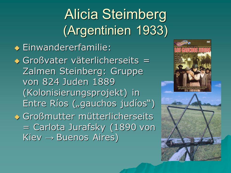 Alicia Steimberg (Argentinien 1933) Einwandererfamilie: Einwandererfamilie: Großvater väterlicherseits = Zalmen Steinberg: Gruppe von 824 Juden 1889 (