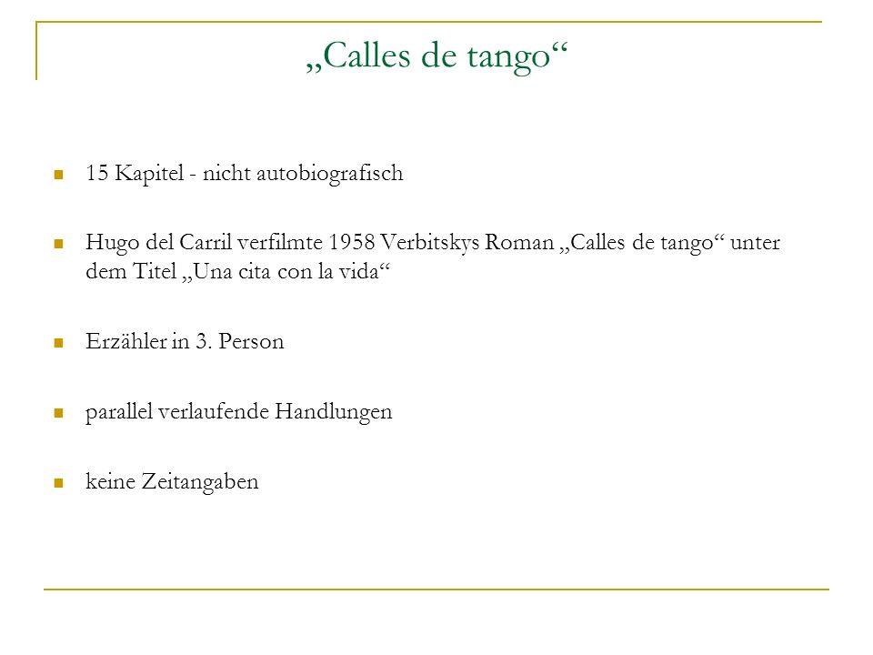 Calles de tango 15 Kapitel - nicht autobiografisch Hugo del Carril verfilmte 1958 Verbitskys Roman Calles de tango unter dem Titel Una cita con la vida Erzähler in 3.