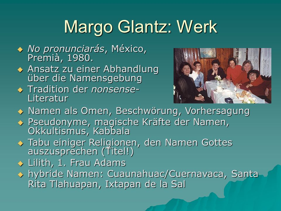 Margo Glantz: Werk No pronunciarás, México, Premià, 1980. No pronunciarás, México, Premià, 1980. Ansatz zu einer Abhandlung über die Namensgebung Ansa