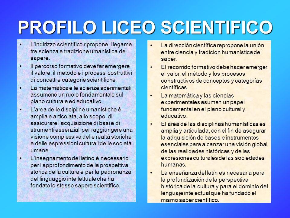 PROFILO LICEO SCIENTIFICO Lindirizzo scientifico ripropone il legame tra scienza e tradizione umanistica del sapere.
