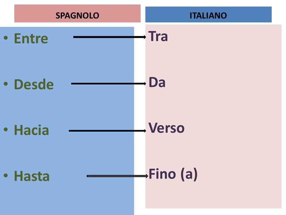 SPAGNOLO Entre Desde Hacia Hasta Tra Da Verso Fino (a) ITALIANO
