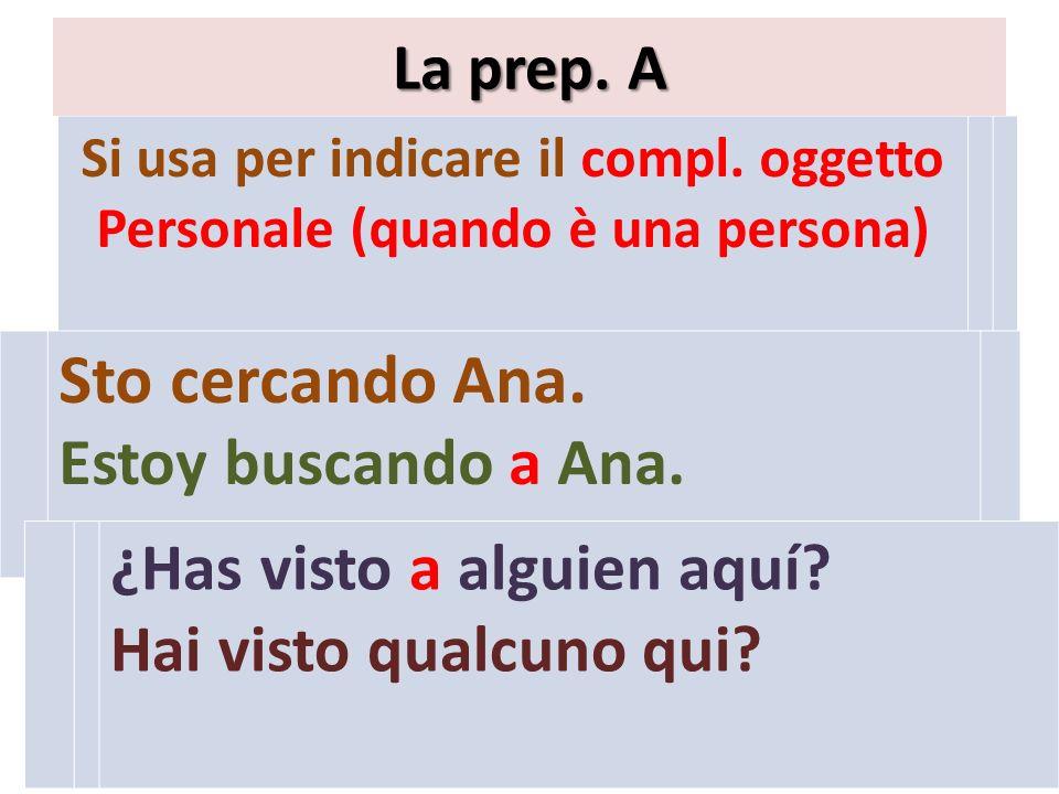 Si usa per indicare il compl.oggetto Personale (quando è una persona) La prep.