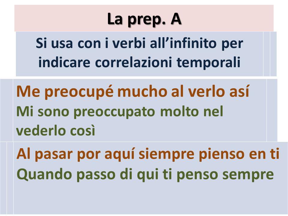 Si usa con i verbi allinfinito per indicare correlazioni temporali La prep.