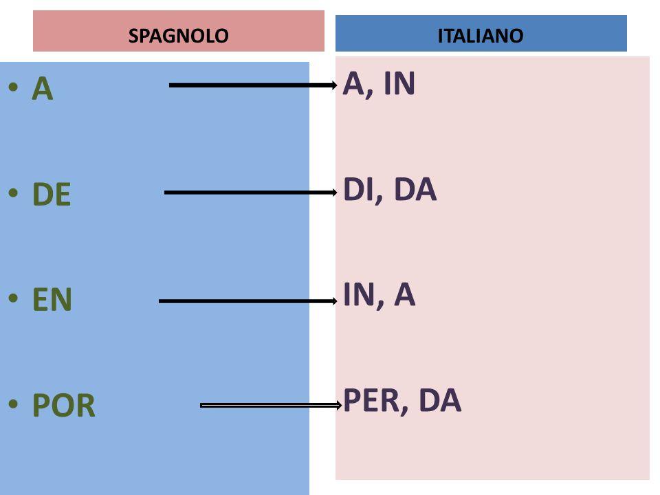 SPAGNOLO A DE EN POR A, IN DI, DA IN, A PER, DA ITALIANO