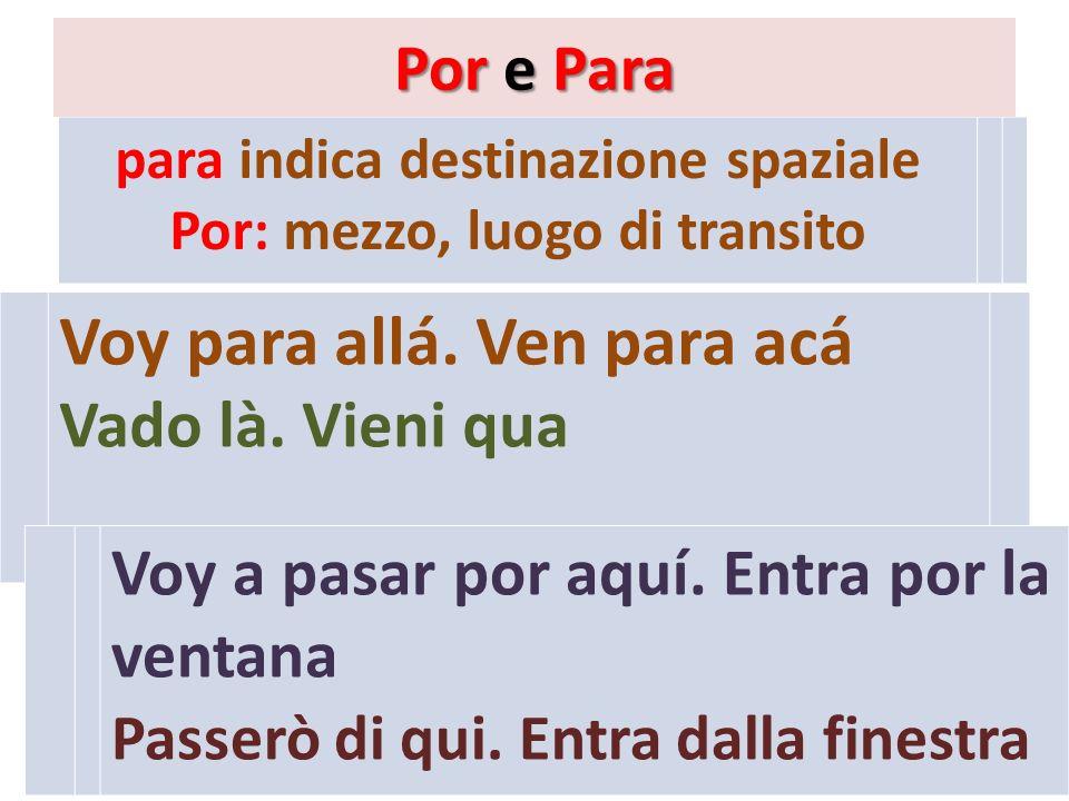 para indica destinazione spaziale Por: mezzo, luogo di transito Por e Para Voy para allá.