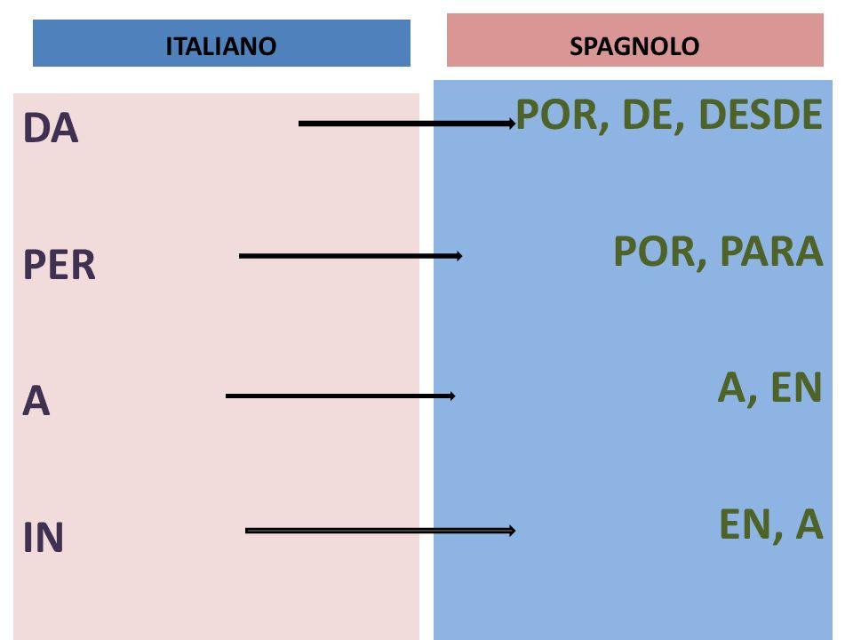 SPAGNOLO POR, DE, DESDE POR, PARA A, EN EN, A DA PER A IN ITALIANO