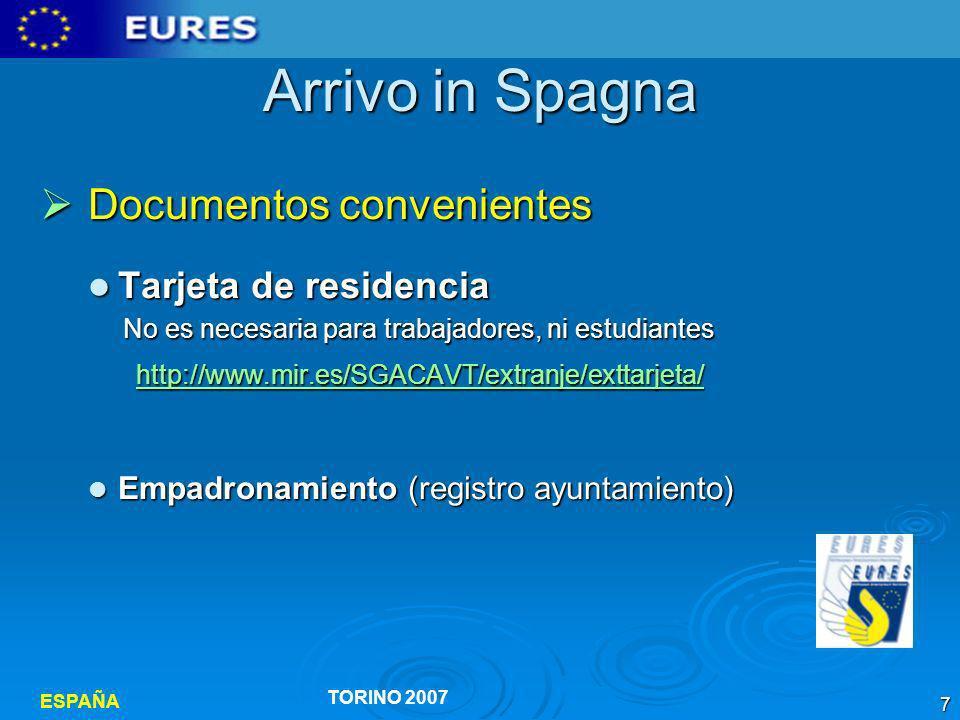 ESPAÑA TORINO 2007 18 Cercare lavoro Antes de salir: http://eures.europa.eu Consultar red EURES Italia www.inem.es www.inem.eswww.inem.es Servicios al ciudadano : Servicios al ciudadano :.