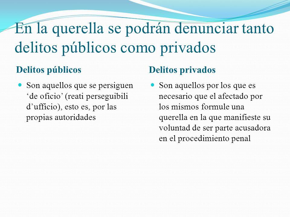 En la querella se podrán denunciar tanto delitos públicos como privados Delitos públicos Delitos privados Son aquellos que se persiguen de oficio (rea