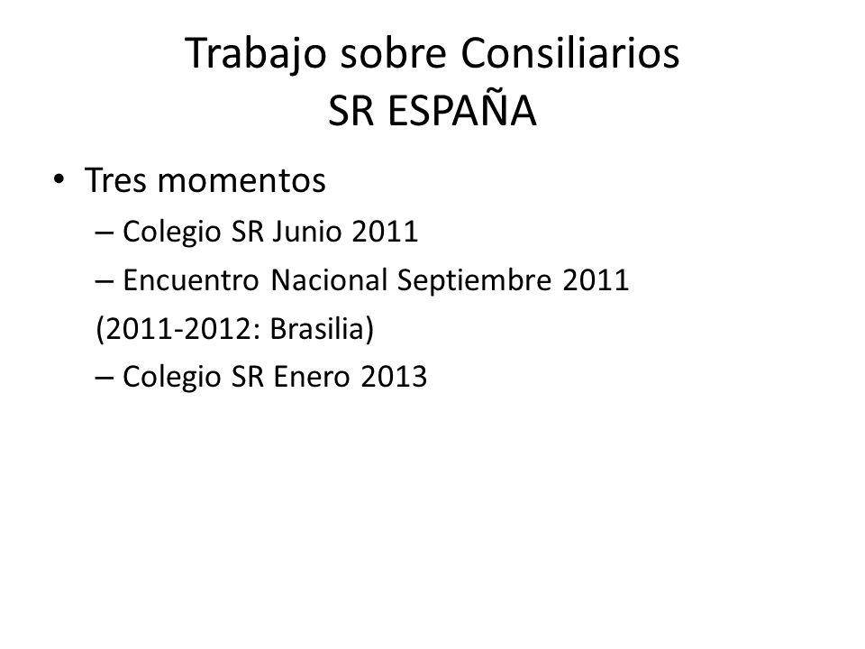 Trabajo sobre Consiliarios SR ESPAÑA Tres momentos – Colegio SR Junio 2011 – Encuentro Nacional Septiembre 2011 (2011-2012: Brasilia) – Colegio SR Enero 2013