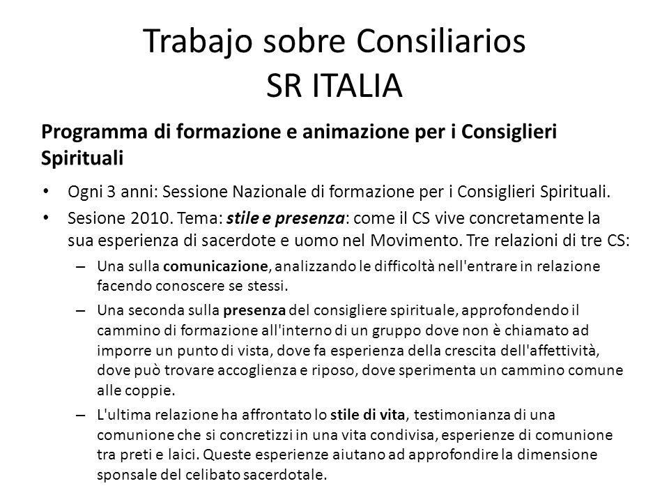 Trabajo sobre Consiliarios SR ITALIA Ogni 3 anni: Sessione Nazionale di formazione per i Consiglieri Spirituali.