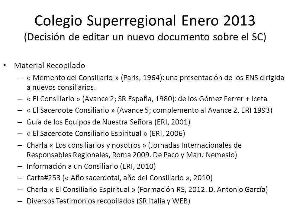 Colegio Superregional Enero 2013 (Decisión de editar un nuevo documento sobre el SC) Material Recopilado – « Memento del Consiliario » (Paris, 1964): una presentación de los ENS dirigida a nuevos consiliarios.