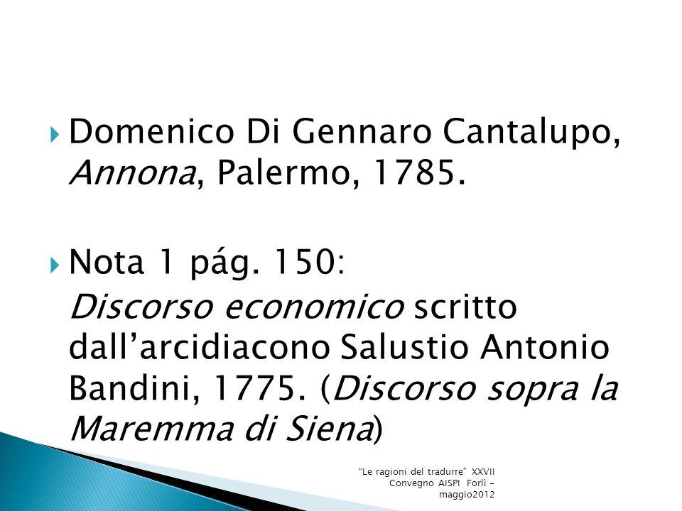Domenico Di Gennaro Cantalupo, Annona, Palermo, 1785.