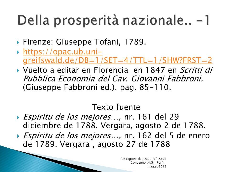 Firenze: Giuseppe Tofani, 1789.