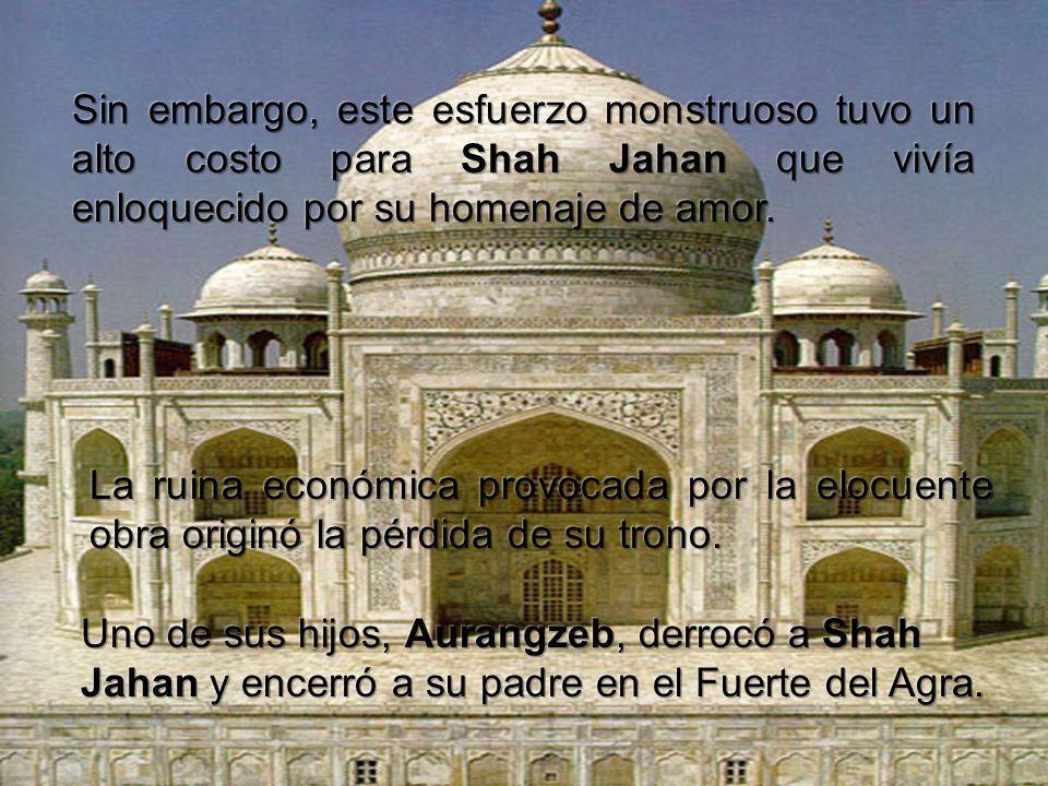 Shah Jahan Jahan comenzó la construcción del Rauza (tumba), y emplazó la construcción en los bancos del río Yamuna en 1631 1631.