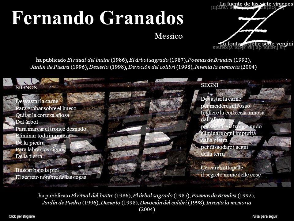 Fernando Granados Messico ha publicado El ritual del buitre (1986), El árbol sagrado (1987), Poemas de Brindisi (1992), Jardín de Piedra (1996), Desie