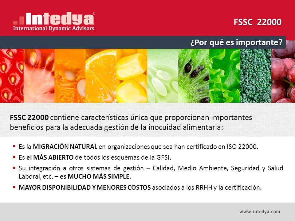 FSSC 22000 El elemento distintivo de este esquema de certificación es la utilización de ISO/TS 22002-X, que han sido desarrolladas para especificar las exigencias de los programas que sirven de prerrequisitos (conforme a ISO 22000, 7.2) con el fin de ayudar a controlar las normas de seguridad alimentaria dentro de los procesos fabriles de la cadena de suministro.