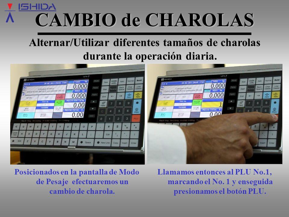 CAMBIO de CHAROLAS Alternar/Utilizar diferentes tamaños de charolas durante la operación diaria.