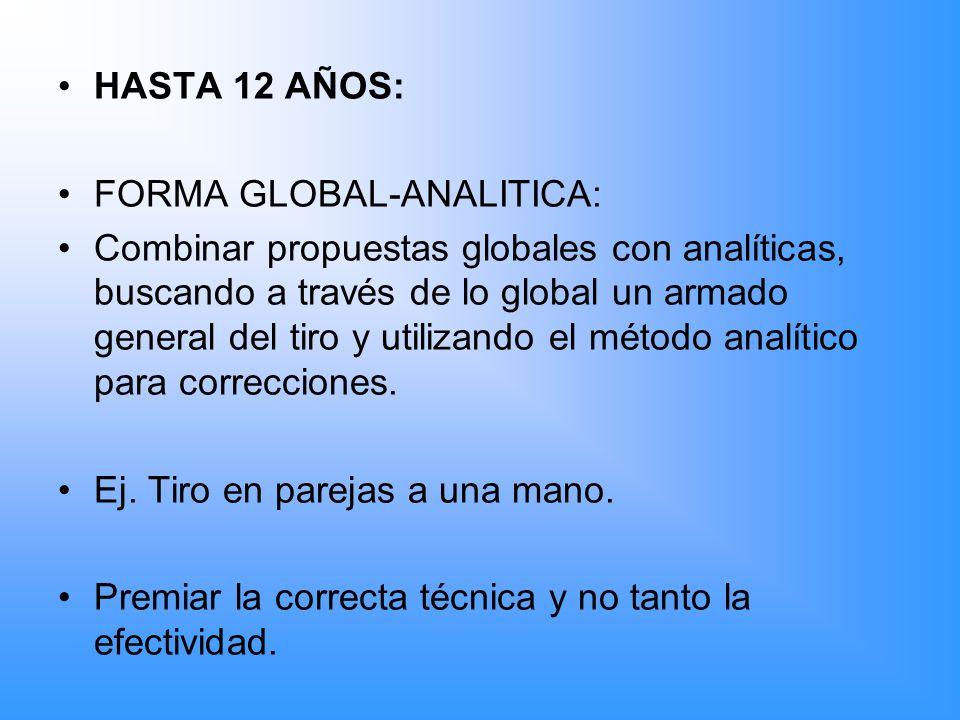 HASTA 12 AÑOS: FORMA GLOBAL-ANALITICA: Combinar propuestas globales con analíticas, buscando a través de lo global un armado general del tiro y utiliz