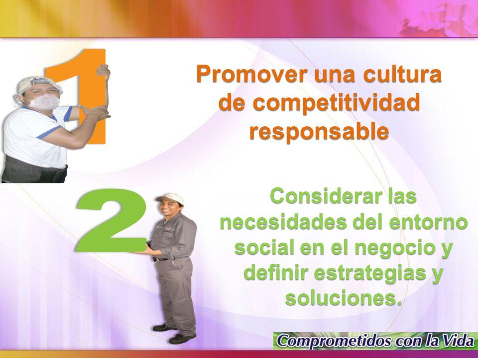 Promover una cultura de competitividad responsable Considerar las necesidades del entorno social en el negocio y definir estrategias y soluciones.