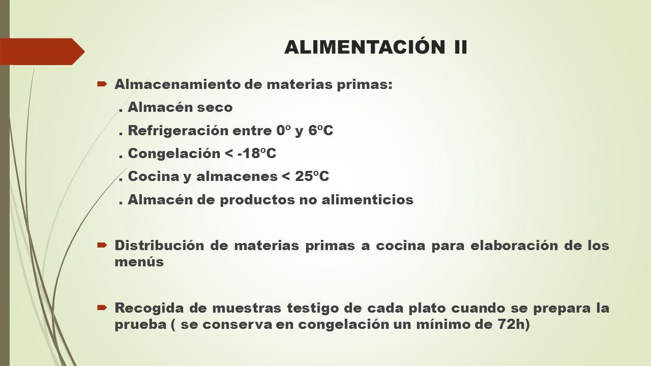 ALIMENTACIÓN II  Almacenamiento de materias primas:. Almacén seco. Refrigeración entre 0º y 6ºC. Congelación < -18ºC. Cocina y almacenes < 25ºC. Alma