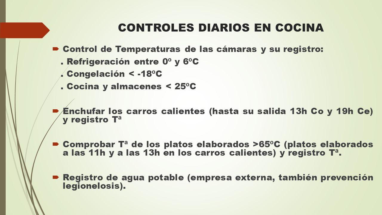 CONTROLES DIARIOS EN COCINA  Control de Temperaturas de las cámaras y su registro:. Refrigeración entre 0º y 6ºC. Congelación < -18ºC. Cocina y almac