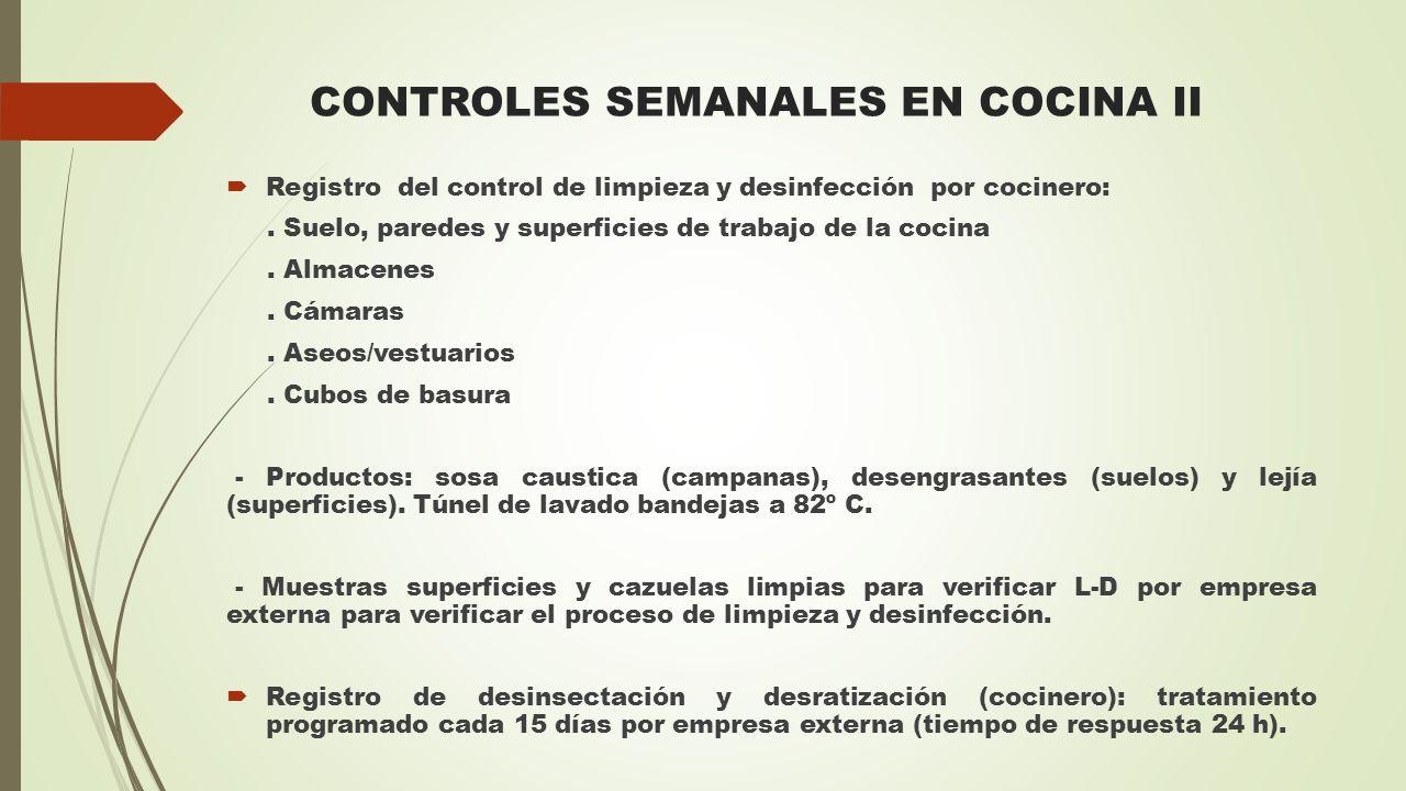 CONTROLES SEMANALES EN COCINA II  Registro del control de limpieza y desinfección por cocinero:. Suelo, paredes y superficies de trabajo de la cocina