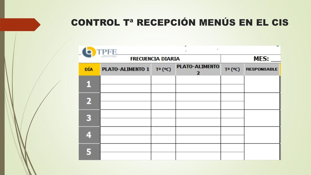 CONTROL Tª RECEPCIÓN MENÚS EN EL CIS