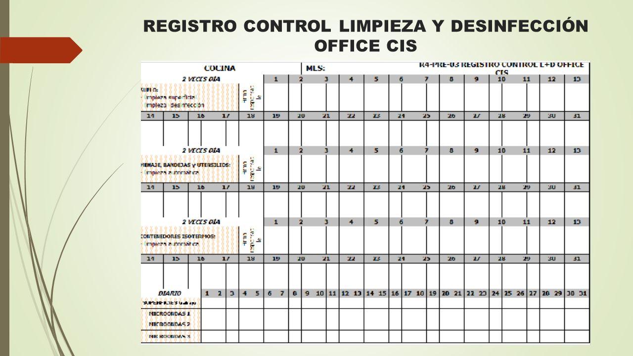 REGISTRO CONTROL LIMPIEZA Y DESINFECCIÓN OFFICE CIS